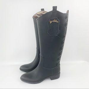 Sam Edelman Ximon Rain Boot, Black Rubber, Size 6